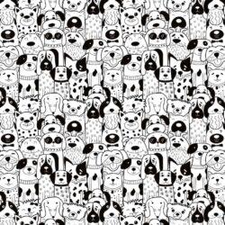 Keramik Dekor lustige Hunde schwarz