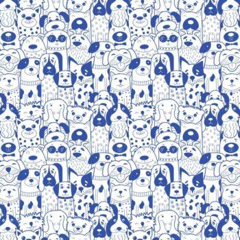Keramik Dekor lustige Hunde blau