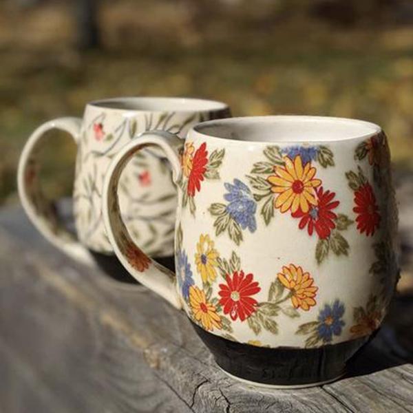 Keramik Dekor bunte Blumen