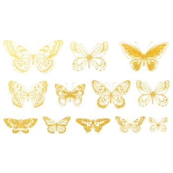 Golddekor für Keramik 22 Karat Schmetterlinge
