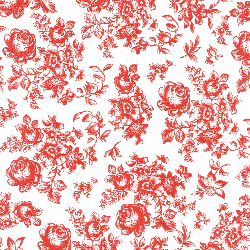 Keramik Dekor rote Blumen