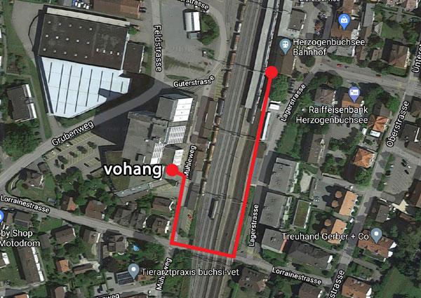 Töpferkurse vohang Fussweg vom Bahnhof